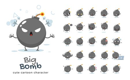 Vector set of cartoon images of Big Bomb. Vector Illustration