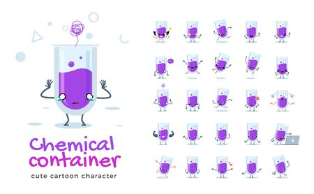 Vector set of cartoon images of Chemical Tube. Vector Illustration 向量圖像