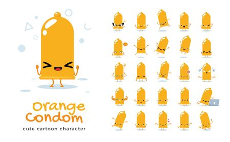 Vector set of cartoon images of Orange Condom. Vector Illustration