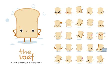 Vector set of cartoon images of Bread Loaf. Vector Illustration