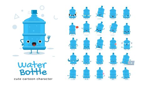Vector set of cartoon images of Water Bottle. Vector Illustration