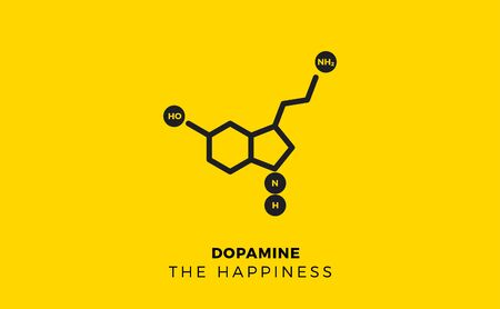 Dopamine, human hormone molecule on yellow background. Isolated Vector Illustration