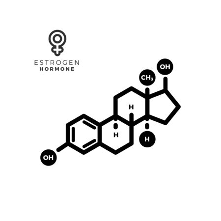 estrogen female sex hormone molecule. Isolated Vector Illustration