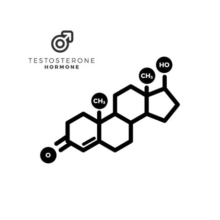 Testosterone male sex hormone molecule. Isolated Vector Illustration