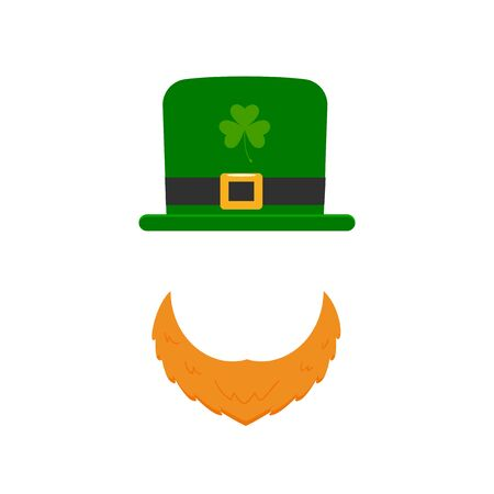 Hat and Orange beard, St. Patricks Day. Vector Illustration