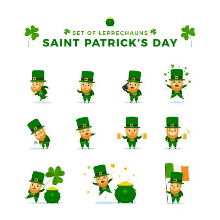 St. Patricks Day. Set Of Leprechauns. Vector Illustration 向量圖像