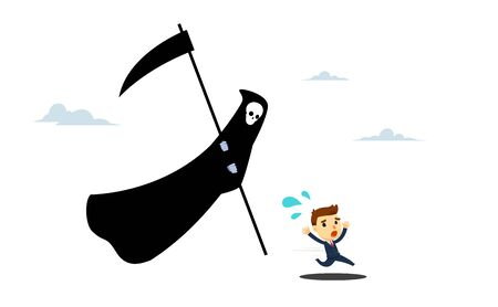 Death angel is chasing a man. Vector Illustration
