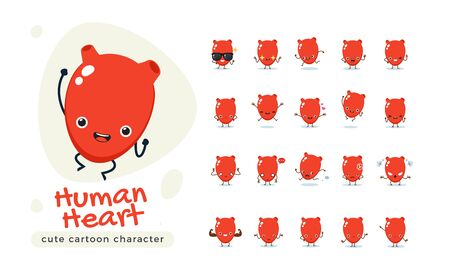 The Red Human Heart. Isolated Vector Illustration