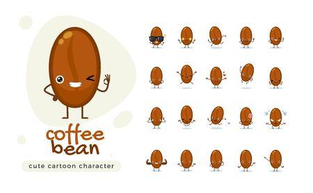 The Cute Coffee Bean. Isolated Vector Illustration Illustration