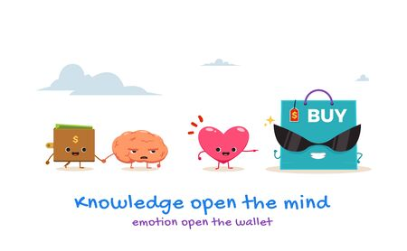 A brain, a wallet, the heart and a big shopping bag. Isolated Vector Illustration Çizim