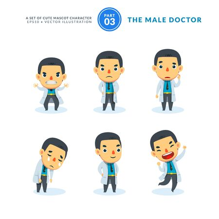 Vector set of cartoon images of Male Doctor. Third Set. Isolated Vector Illustration