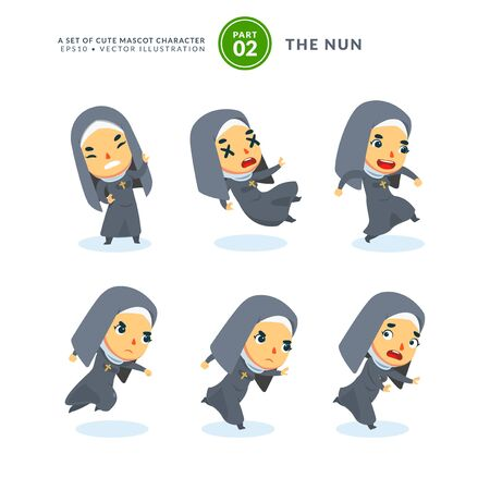 Vector set of cartoon images of a nun. Second Set. Isolated Vector Illustration Иллюстрация