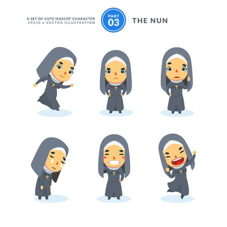 Vector set of cartoon images of a nun. Third Set. Isolated Vector Illustration