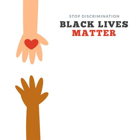 an abstract illustration of white hand with heart reaching a black hand. Vector Illustration