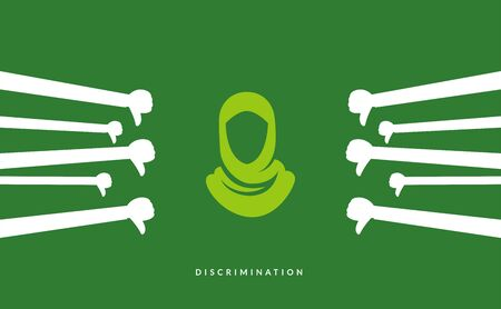 an abstract illustration of green hijab sign surrounded with thumb down.