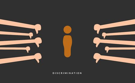 an abstract illustration of brown person sign surrounded with thumb down. Vectores