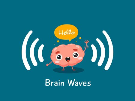 The brain is waving hand. Isolated Vector Illustration
