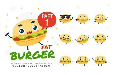Vector set of cartoon images of Burger. Part 1