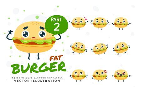 Vector set of cartoon images of Burger. Part 2 Stock Illustratie