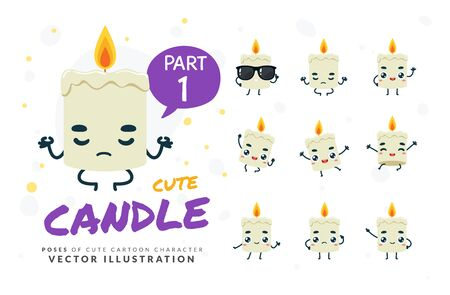 Vector set of cartoon images of Candle. Part 1