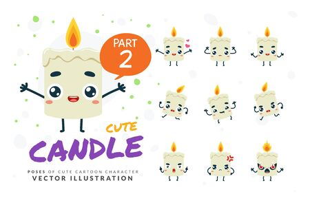 Vector set of cartoon images of Candle. Part 2