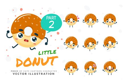 Vector set of cartoon images of Donut. Part 2