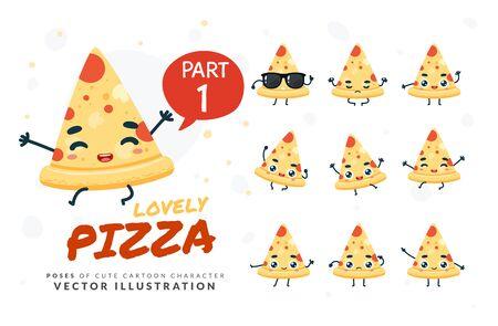 Vector set of cartoon images of Pizza. Part 1 Stock Illustratie