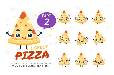 Vector set of cartoon images of Pizza. Part 2