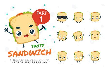 Vector set of cartoon images of Sandwich. Part 1