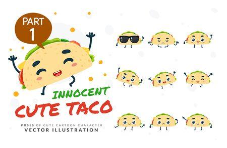 Vector set of cartoon images of Taco. Part 1