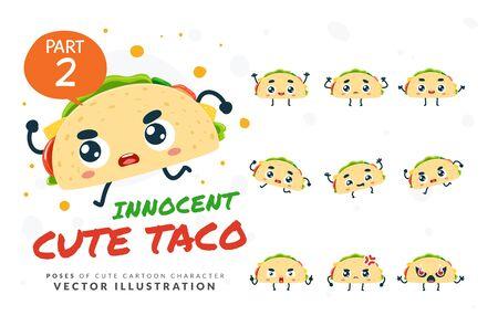 Vector set of cartoon images of Taco. Part 2 Stock Illustratie