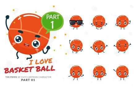 Vector set of cartoon images of Basketball. Part 1 Stock Illustratie