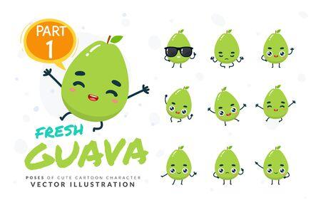 Vector set of cartoon images of Guava. Part 1