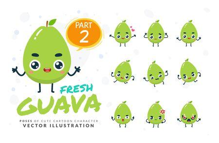 Vector set of cartoon images of Guava. Part 2 Stock Illustratie