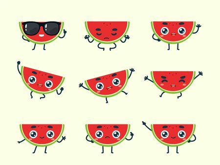 Vector set of cartoon images of Watermelon. Part 1 Stock Illustratie