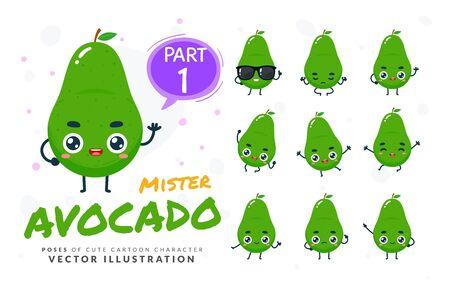 Vector set of cartoon images of Avocado. Part 1