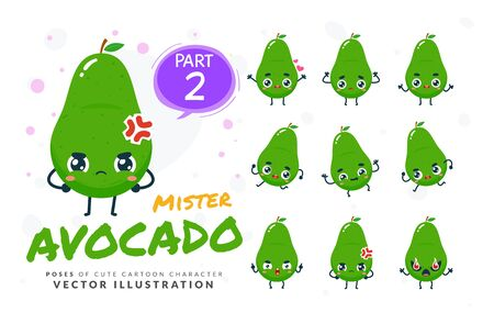 Vector set of cartoon images of Avocado. Part 2