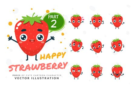 Vector set of cartoon images of Strawberry. Part 2