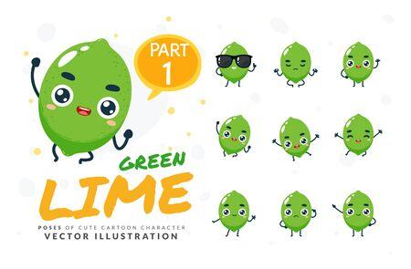 Vector set of cartoon images of Green Lime. Part 1 Stock Illustratie