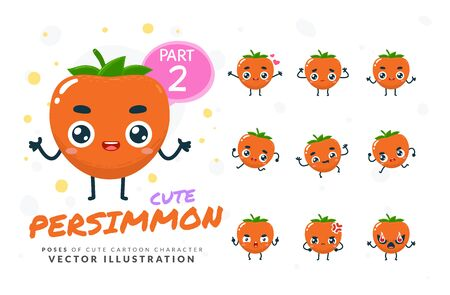 Vector set of cartoon images of Persimmon. Part 2