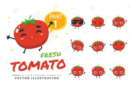 Vector set of cartoon images of Tomato. Part 1