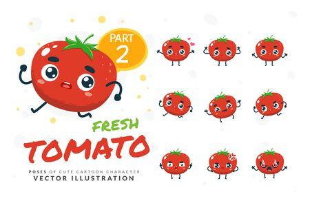 Vector set of cartoon images of Tomato. Part 2 Stock Illustratie