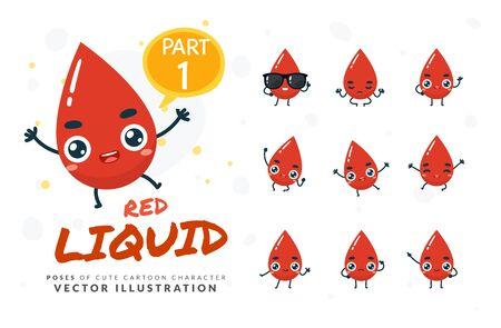 Vector set of cartoon images of Red Liquid. Part 1 Stock Illustratie