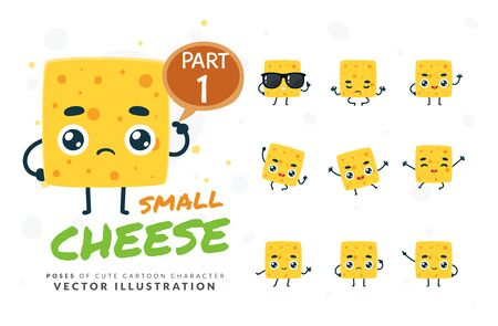 Vector set of cartoon images of Cheese. Part 1