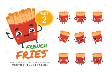 Vector set of cartoon images of French Fries. Part 2