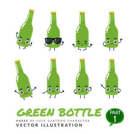 Vector set of cartoon images of Green Bottle. Part 1 Stock Illustratie