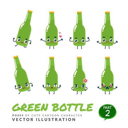 Vector set of cartoon images of Green Bottle. Part 2