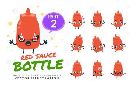 Vector set of cartoon images of Red Sauce Bottle. Part 2 Stock Illustratie