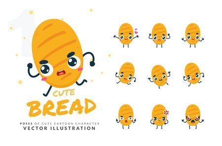 Vector set of cartoon images of Bread. Part 1