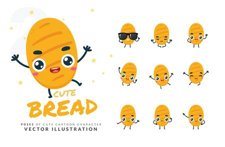 Vector set of cartoon images of Bread.